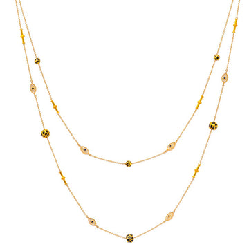 Double Gold Necklace with God Eye and Roundels