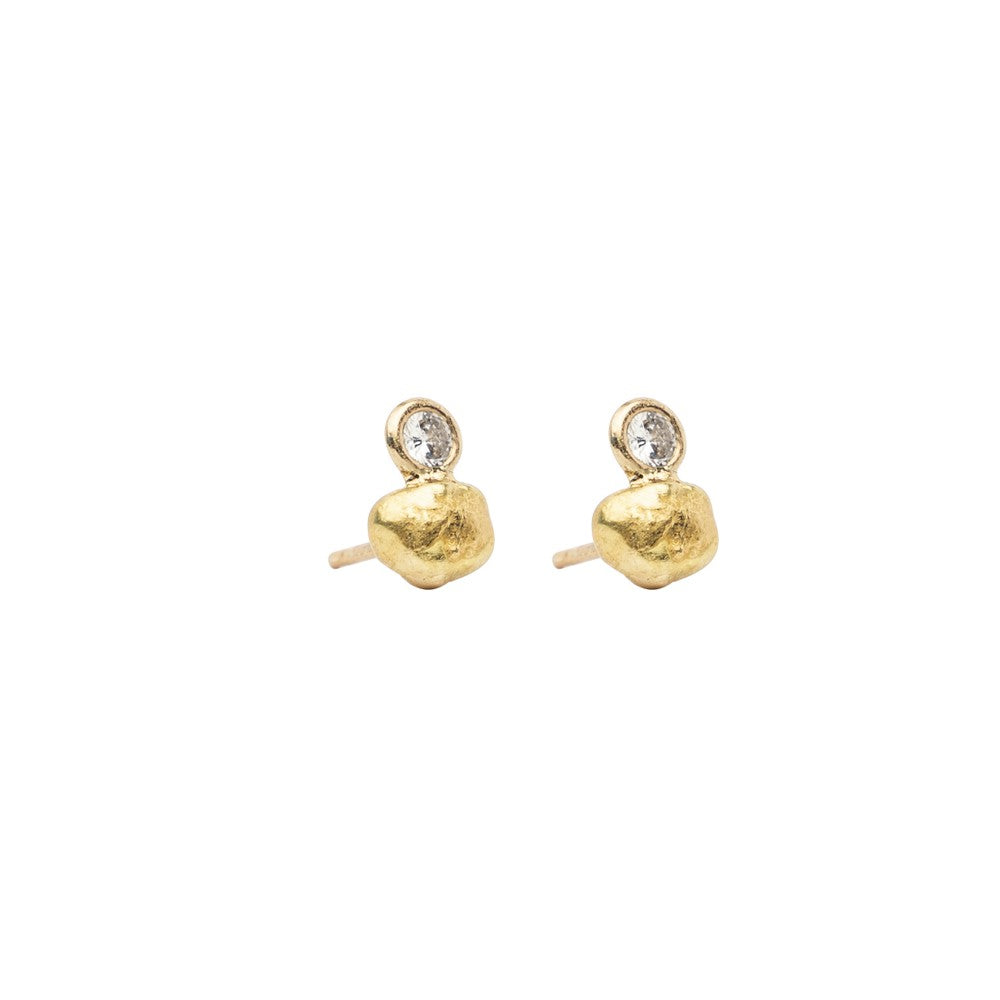 Golden Nugget and Diamond Earrings