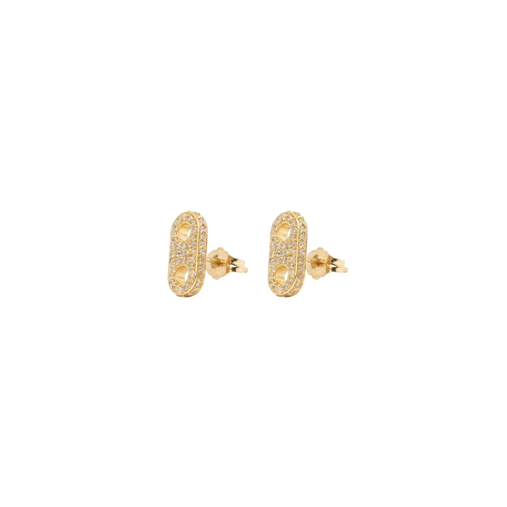 Gold Diamond Encrusted Stud Earrings