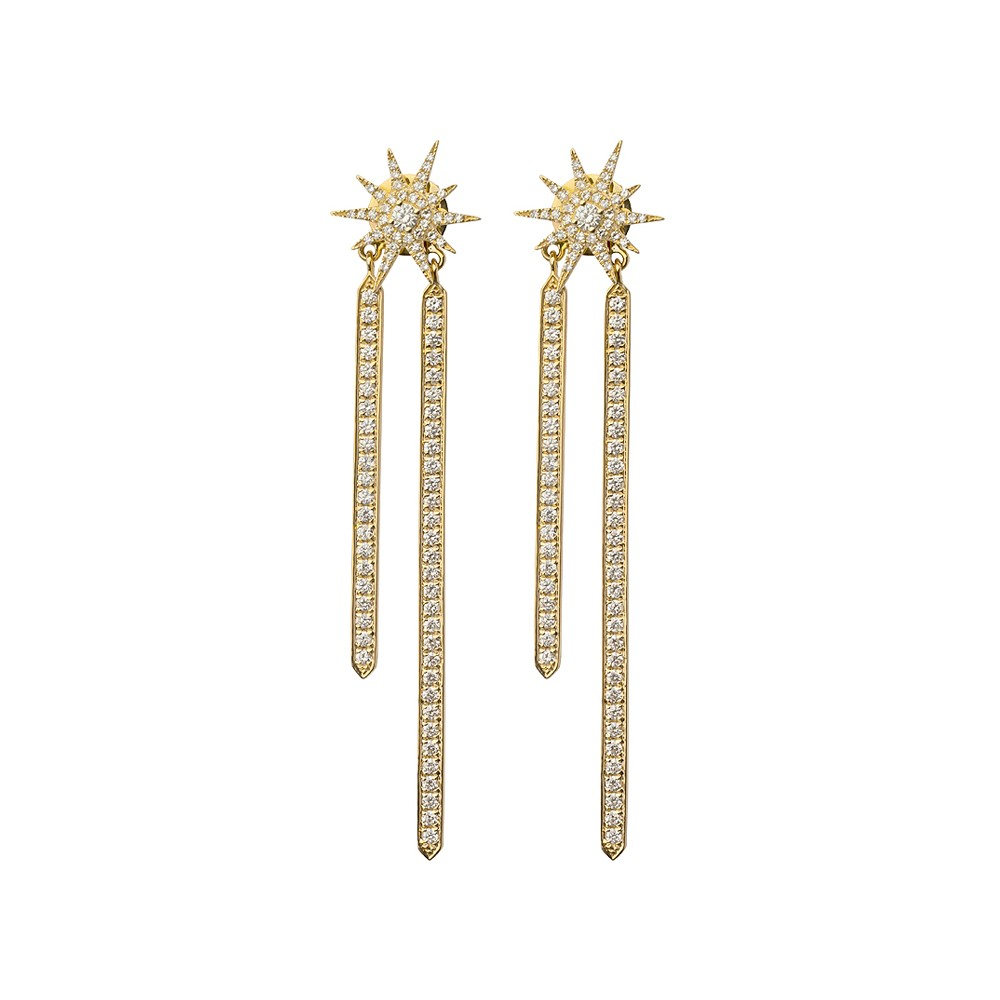 Double Star Burst Diamond Drop Earrings