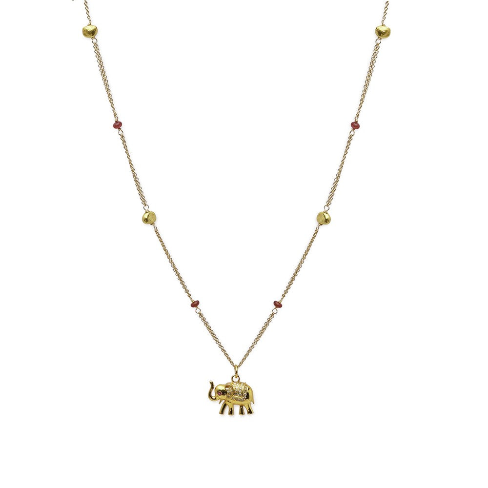 Gold Bead Necklace with Sapphire Accents and Elephant Pendant