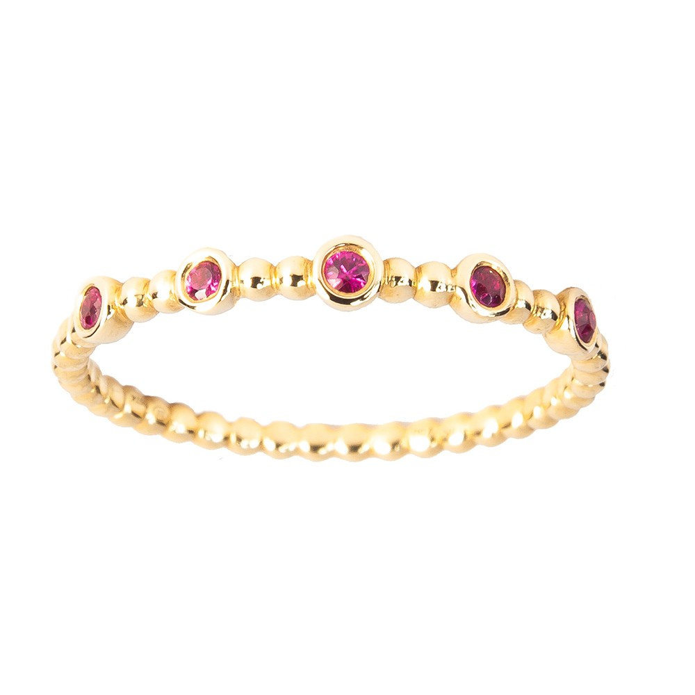 Ruby Accented Gold Ring