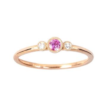 Pink Sapphire and Diamond Accent Ring