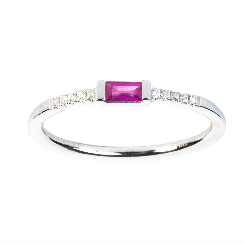 Ruby Baguette and Diamond Accent Ring