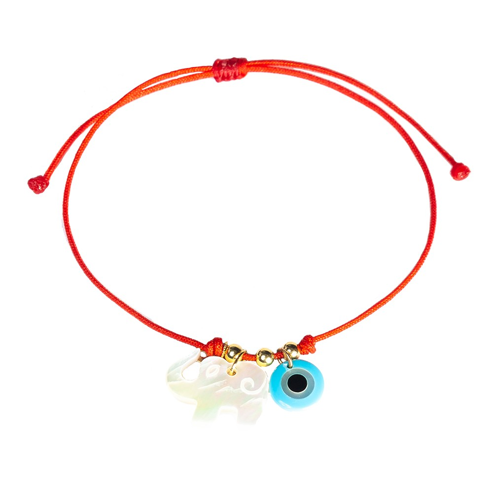 Red String Bracelet Mother Of Pearl God Eye And Elephant