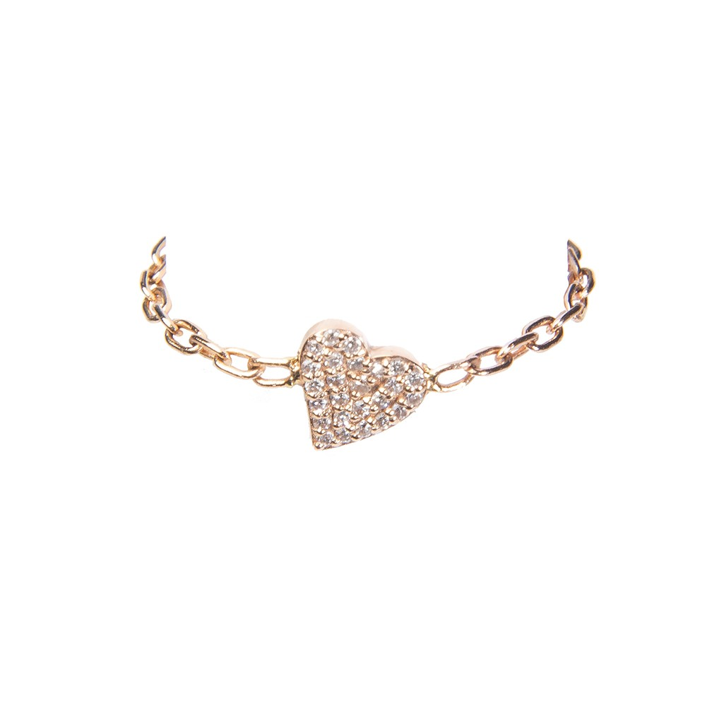 Gold Chain Ring with Diamond Encrusted Heart