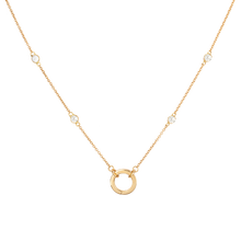 Solid Gold Open and Close Clasp Necklace with Clear topaz