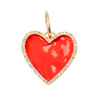 Large Enamel Red Heart with Diamonds