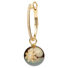 Our Classic Small Hoop with Grey Pearl Starburst Middle Detail