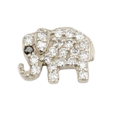 Small White Dimond Elephant with  Sapphire Eye