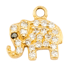 Small White Diamond Elephant with  Sapphire Eye