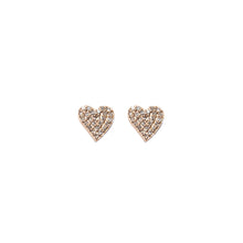 Diamond Encrusted Heart Stud Earrings