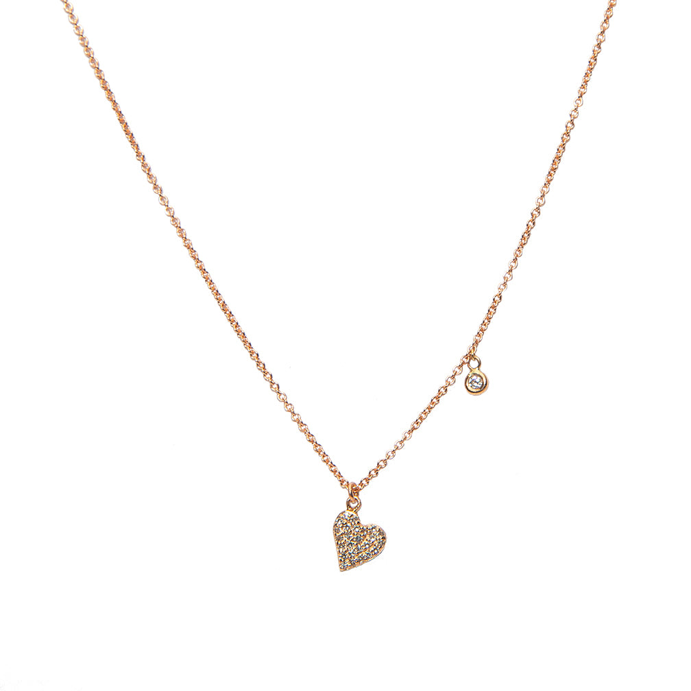 Heart and Mini Diamond Charm Necklace