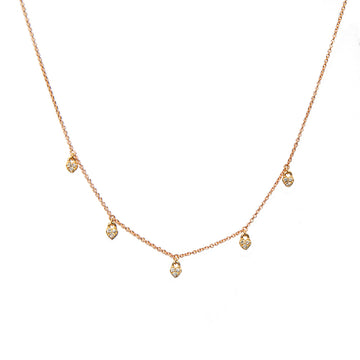Dangling Diamond Hearts Necklace