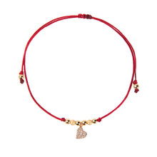 Red String Bracelet with Diamond Heart Charm