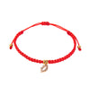 Red String Bracelet with Diamond Encrusted Kiss