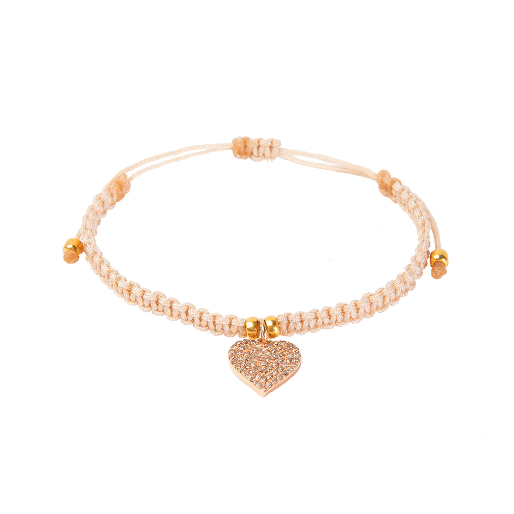 Pink Diamond Heart String Bracelet