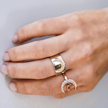 Gold Band Diamond Crescent Ring