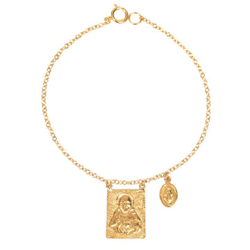 Scapular Sacred Heart and Virgin Medallion Bracelet