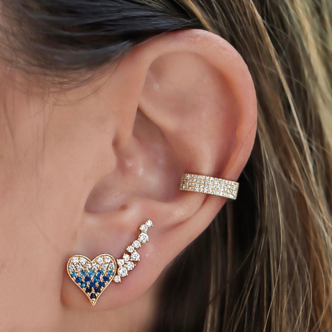 3 Diamond Rows Earring Cuff