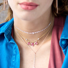 Pink Sapphire and Beveled Diamonds Necklace