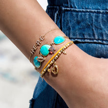 Gold and Turquoise Bracelet with Diamond Encrusted Charms