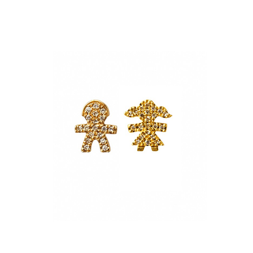 Diamond Encrusted Boy and Girl Stud Earrings