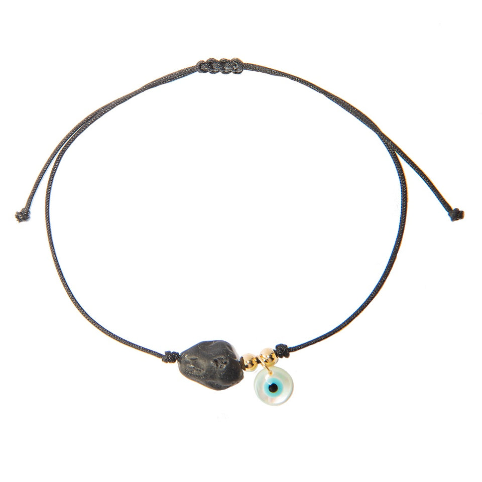Black String Bracelet with Black Tourmaline and Mother of Eye Pearl