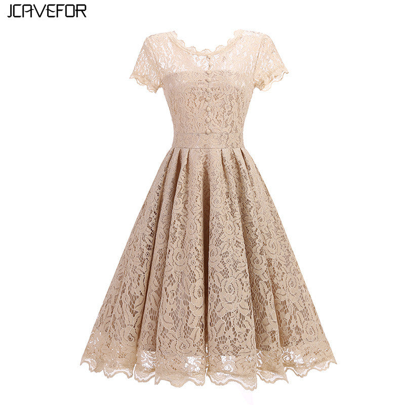 Womens Summer Lace Dress Vintage O Neck Slim Sexy Party Lace Dresses  Elegant Short Sleeve A 816a9143f