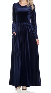 Lady Navy Velvet Maxi Dress