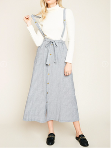 Stripe Button Up Suspender Dress