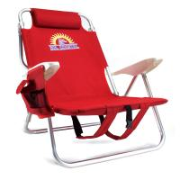 4-Position Folding Beach Chair, Red-BigVacations