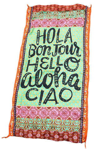 Hola Bonjour Hello Aloha Ciao Stylish Beach Towel-BigVacations