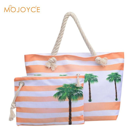 2pcs Beach Travel Handbags Clutch Composite Set Women Fashion Canvas Summer Girls Casual Shoulder Bag Shopping Totes Pineapple-BigVacations