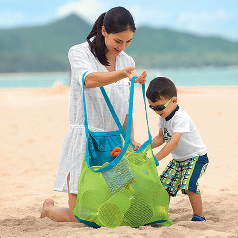 Foldable Kids Baby Sand Away Carry Beach Treasures Toys Pouch Sandy Tote Mesh Childrens Storage Bag for Toys-BigVacations