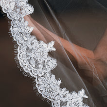 Rene two tier lace applique ivory fingertip wedding bridal veil with blusher
