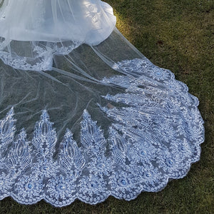 Maryanne one tier lace ivory royal wedding bridal veil