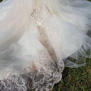 Emerald two tier lace applique ivory blush wedding bridal veil with blusher
