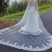 Melaine one tier sequin lace ivory royal wedding bridal veil