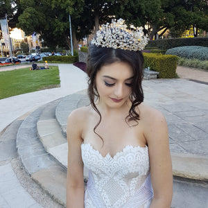 NH416 CRYSTAL BRIDAL TIARA CROWN WITH PEARLS