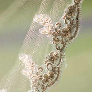 Rochelle one tier lace applique champagne fingertip wedding bridal veil