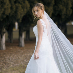 Rimona raw cut edge plain ivory cathedral wedding bridal veil