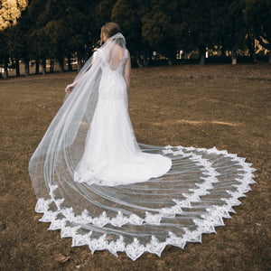 Marquise one tier lace ivory cathedral wedding bridal veil