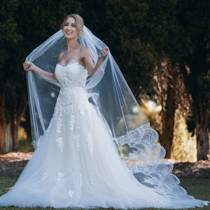 Estelle one tier lace applique cathedral wedding bridal veil