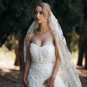 Rhianna one tier sequin lace champagne cathedral wedding bridal veil