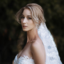 Rachav one tier sequin lace applique ivory cathedral wedding bridal veil