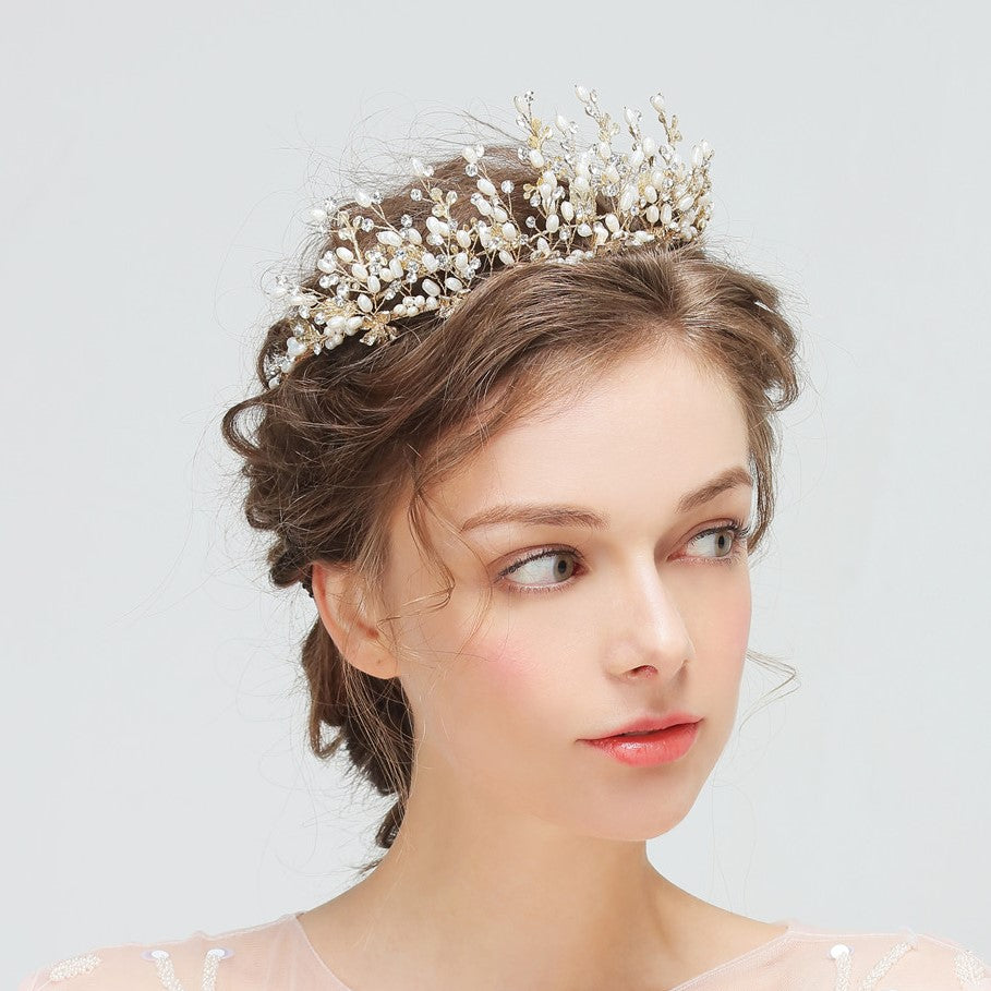 Crystal Bridal Crown Tiara with Pearls