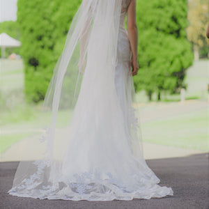 Raelene one tier lace lace applique ivory cathedral wedding bridal veil