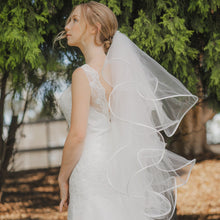 Madison multi tier satin ruffle scalloped edge fingertip wedding bridal veil