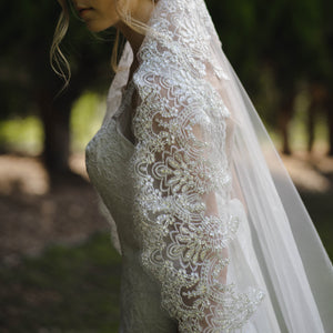 Margaret one tier sequin lace ivory cathedral wedding bridal veil
